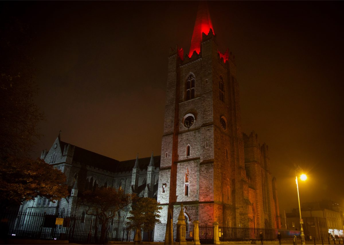 ST PATRICK'S CATHEDRAL GOES RED