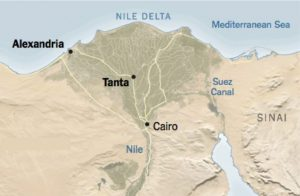 Map of Egypt with Tanta and Alexandria
