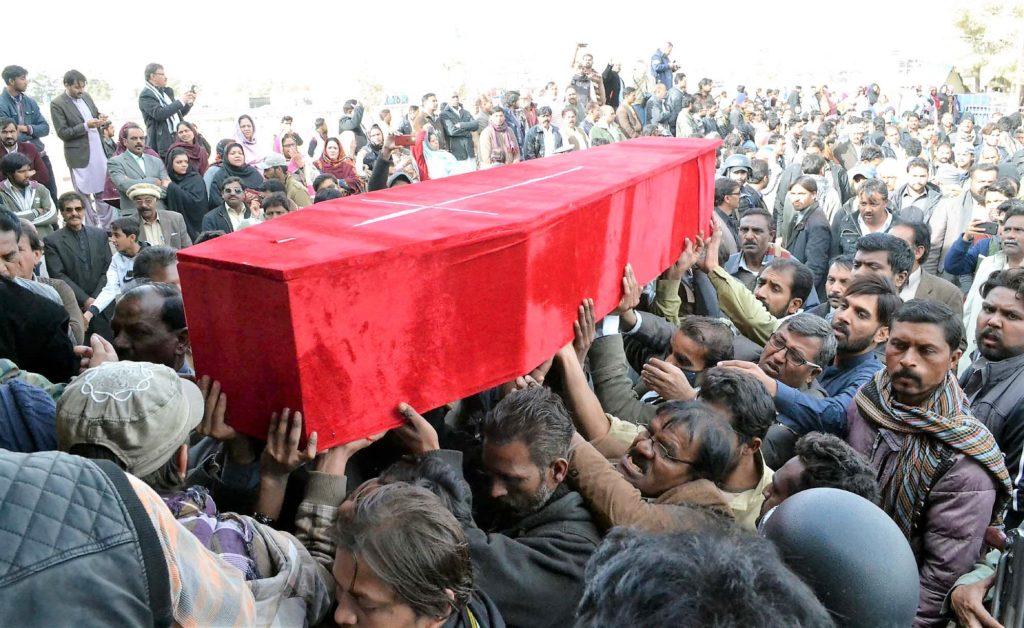 Coffin at Quetta funeral