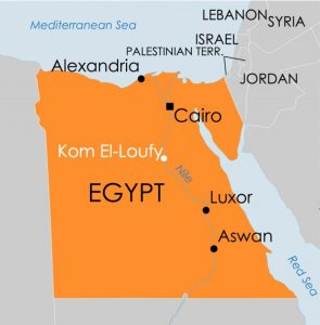Egypt map with Kom El-Loufy