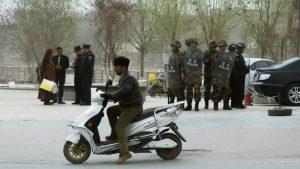 Security forces in Kashgar