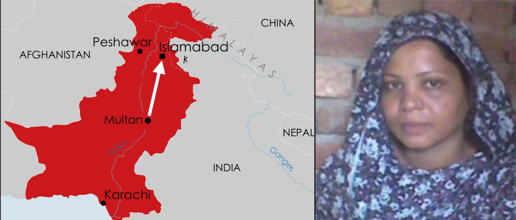 Multan Map:Asia Bibi