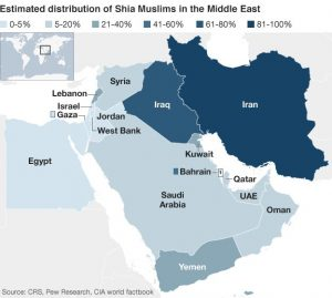 Shia in Middle East map