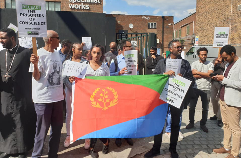 Protesters at vigil hold Eritrean flag