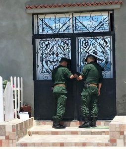 Gendarmes seal shut doors of church in Boudjima, Algeria