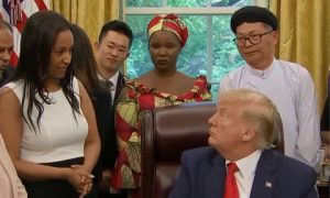 Helen Berhane with President Trump
