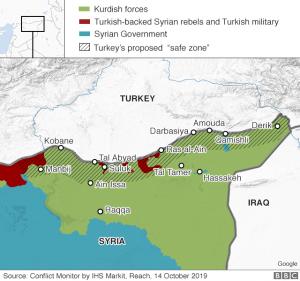 Map of Turkish incursion