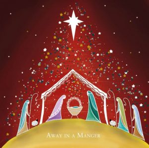 Christmas Card depicting manger