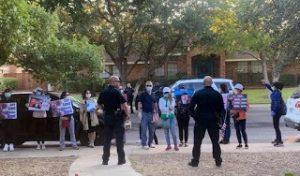 Protestors at Bob Fu's home