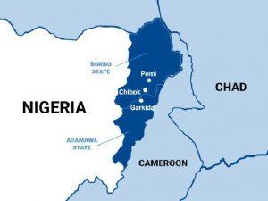 Map of northeast Nigeria showing Pemi and Garkida