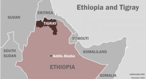 Map of Ethiopia showing Tigray