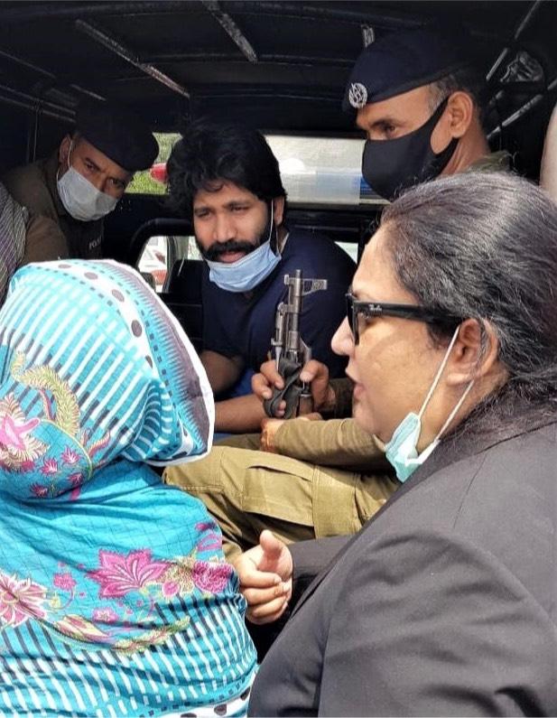 Salamat Mansha Masih with mother and lawyer