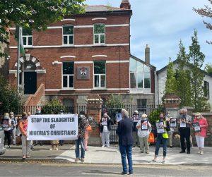 Group outside Nigerian Embassy