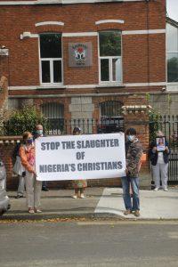 Banner outside Embassy